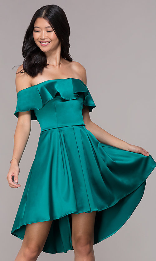 c366c568018 Image of high-low off-the-shoulder emerald homecoming dress. Style