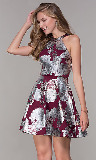 Short Metallic Silver Floral-Print Red Party Dress
