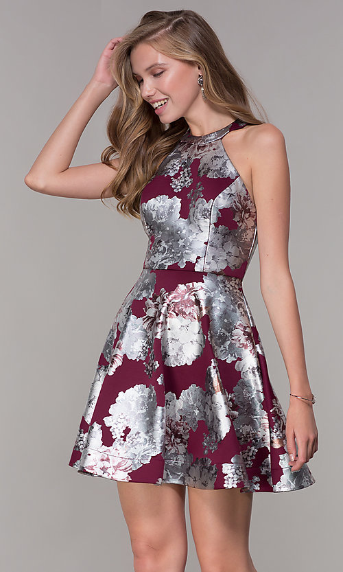 b09cc422d599 Image of short metallic silver floral-print red party dress. Style  MY-