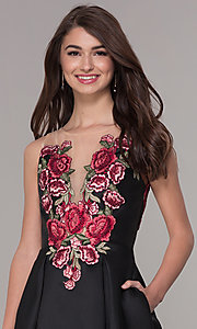Image of short embroidered-bodice hoco party dress with pockets. Style: CD-1811S Detail Image 1
