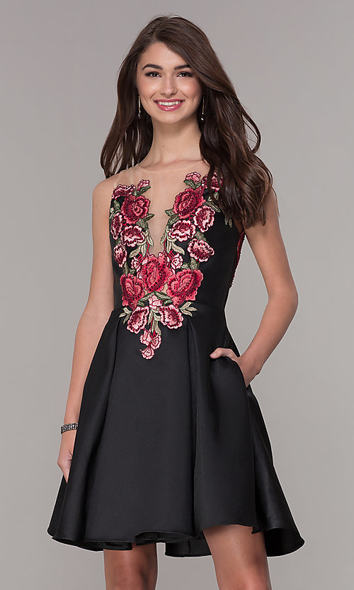Image of short embroidered-bodice hoco party dress with pockets. Style: CD-1811S Front Image