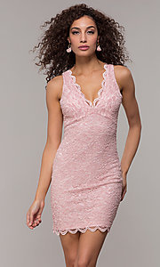 Image of short v-neck glitter-lace party dress with racerback.  Style: JU-10647 Detail Image 2