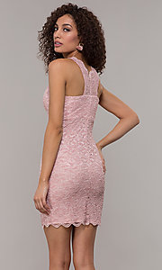 Image of short v-neck glitter-lace party dress with racerback.  Style: JU-10647 Detail Image 3