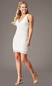 Image of short v-neck glitter-lace party dress with racerback.  Style: JU-10647 Detail Image 5