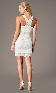 Image of short v-neck glitter-lace party dress with racerback.  Style: JU-10647 Detail Image 6
