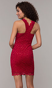 Image of short v-neck glitter-lace party dress with racerback.  Style: JU-10647 Back Image
