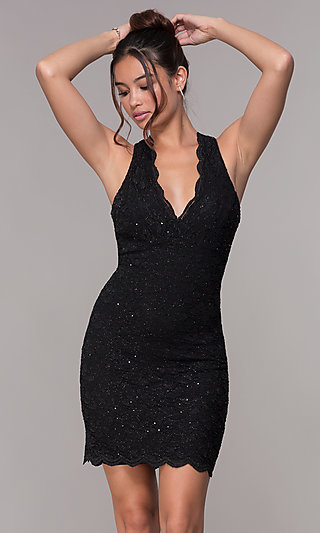 Short V-Neck Glitter-Lace Party Dress with Racerback