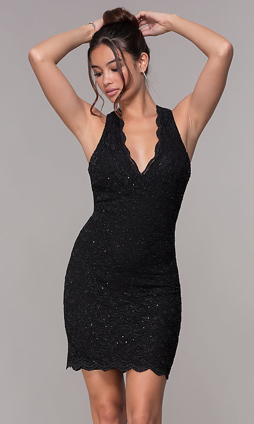 Image of short v-neck glitter-lace party dress with racerback.  Style: JU-10647 Detail Image 7