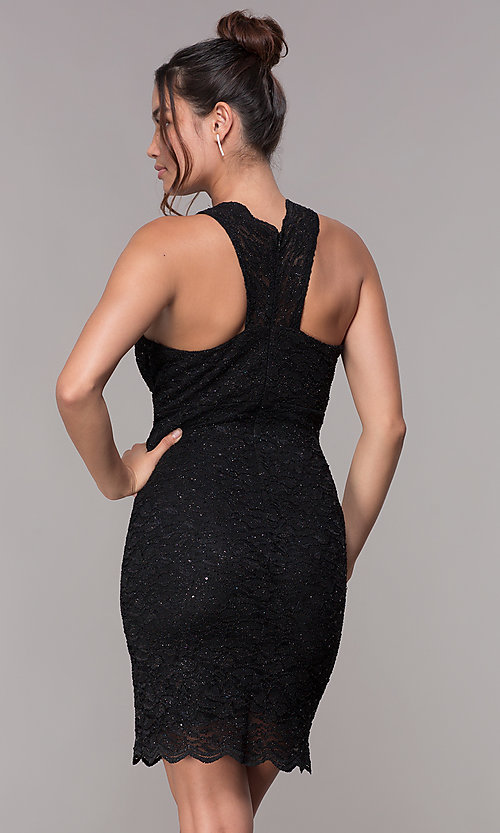 Image of short v-neck glitter-lace party dress with racerback.  Style: JU-10647 Detail Image 8