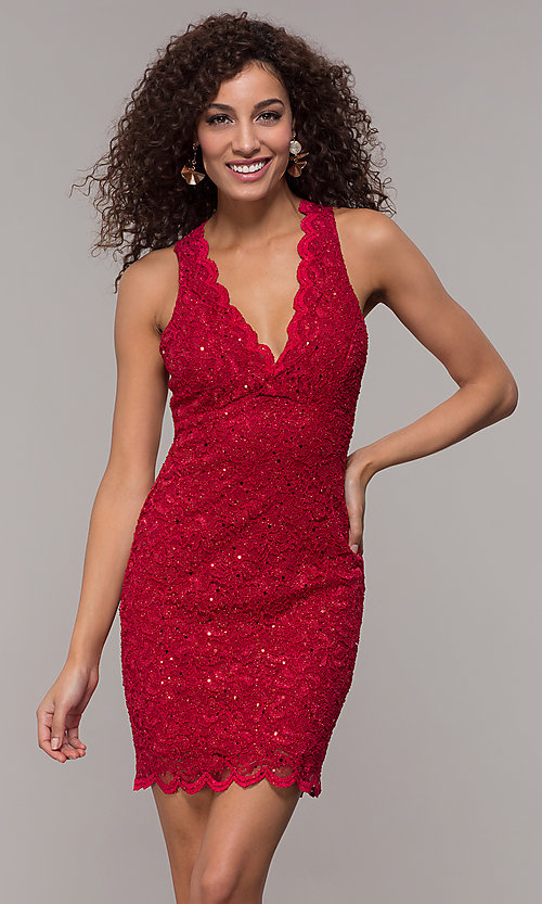 Image of short v-neck glitter-lace party dress with racerback.  Style: JU-10647 Front Image