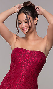 Image of strapless wine red short high-low lace party dress. Style: JU-10931 Detail Image 1