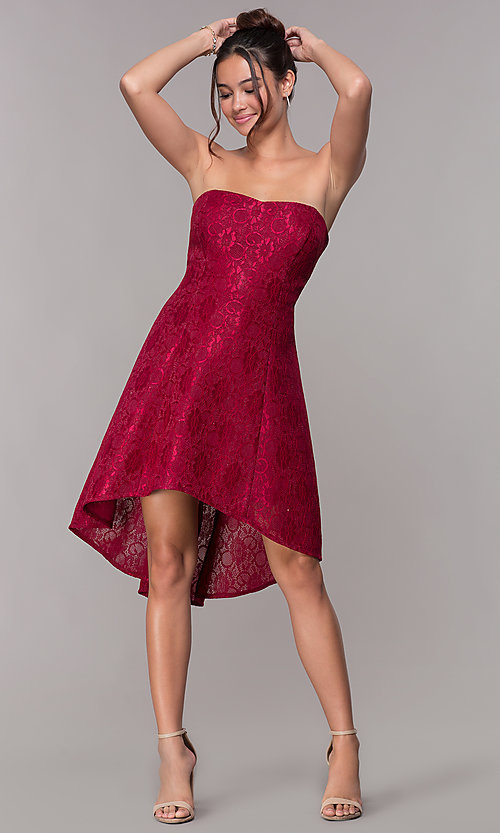 Image of strapless wine red short high-low lace party dress. Style: JU-10931 Detail Image 3