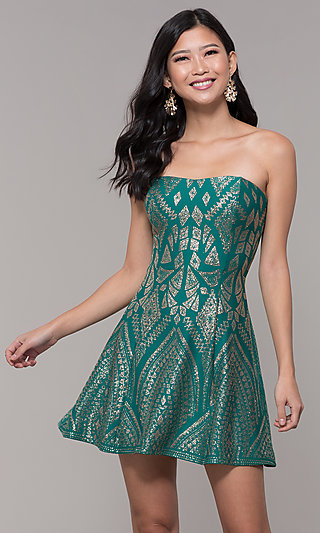 Short Strapless Holiday Party Dress