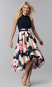 Image of floral-print high-low navy wedding guest dress. Style: IT-SL184104 Front Image