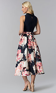 Image of floral-print high-low navy wedding guest dress. Style: IT-SL184104 Back Image
