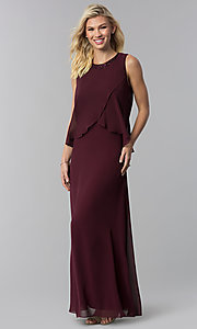 Image of long chiffon formal wedding-guest dress with popover. Style: IT-9170173 Front Image