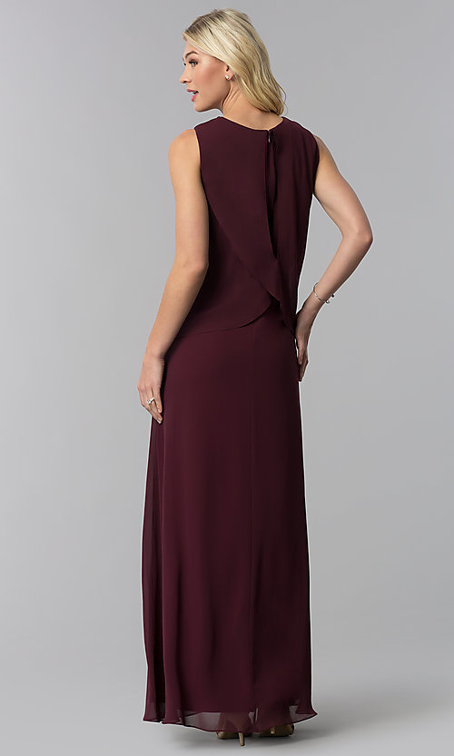 Image of long chiffon formal wedding-guest dress with popover. Style: IT-9170173 Back Image