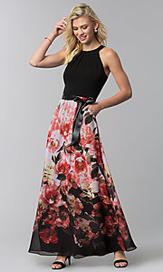 Image of long floral-print-skirt wedding guest dress. Style: IT-9177122 Front Image