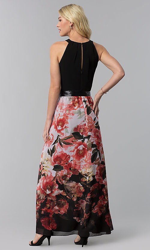 Image of long floral-print-skirt wedding guest dress. Style: IT-9177122 Back Image