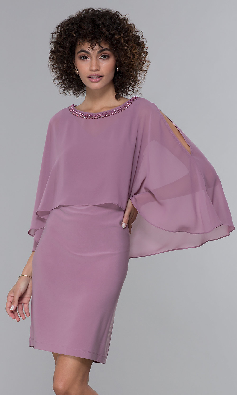 Wedding Guest Dress With Chiffon Capelet Promgirl
