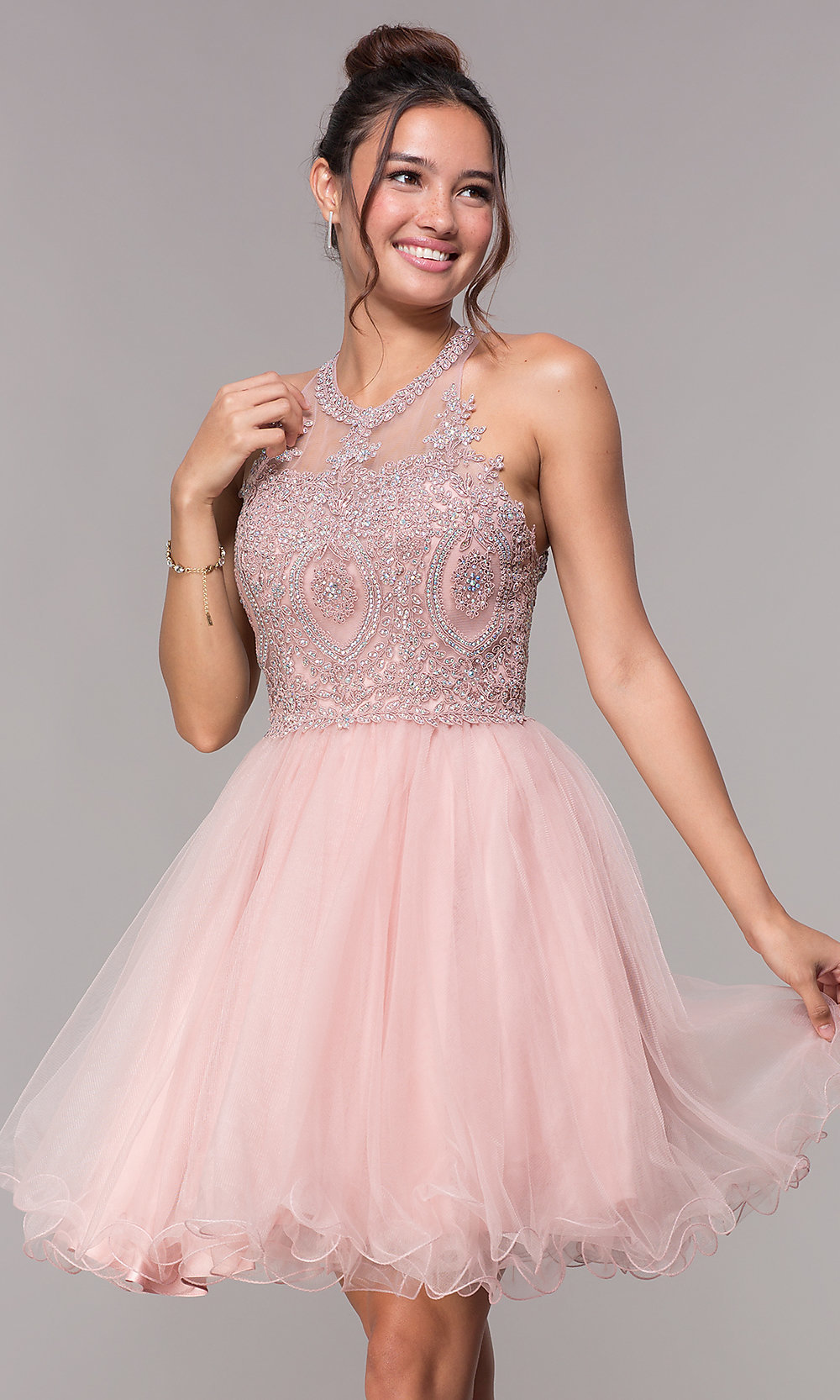 170e4ac035 Short Tulle Babydoll Homecoming Dress - PromGirl