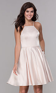 Image of short sleeveless homecoming dress with tied back. Style: PO-8312 Detail Image 2
