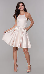 Image of short sleeveless homecoming dress with tied back. Style: PO-8312 Detail Image 3