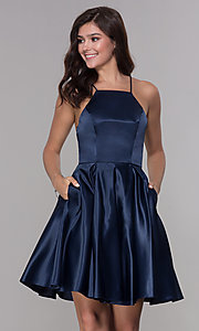 Image of short sleeveless homecoming dress with tied back. Style: PO-8312 Front Image