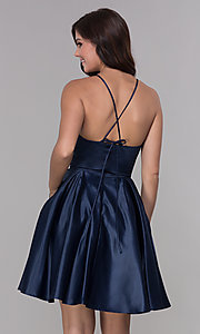 Image of short sleeveless homecoming dress with tied back. Style: PO-8312 Back Image
