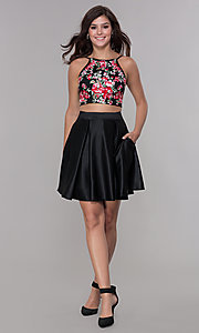 Image of two-piece short homecoming dress with embroidery. Style: PO-8266 Detail Image 2