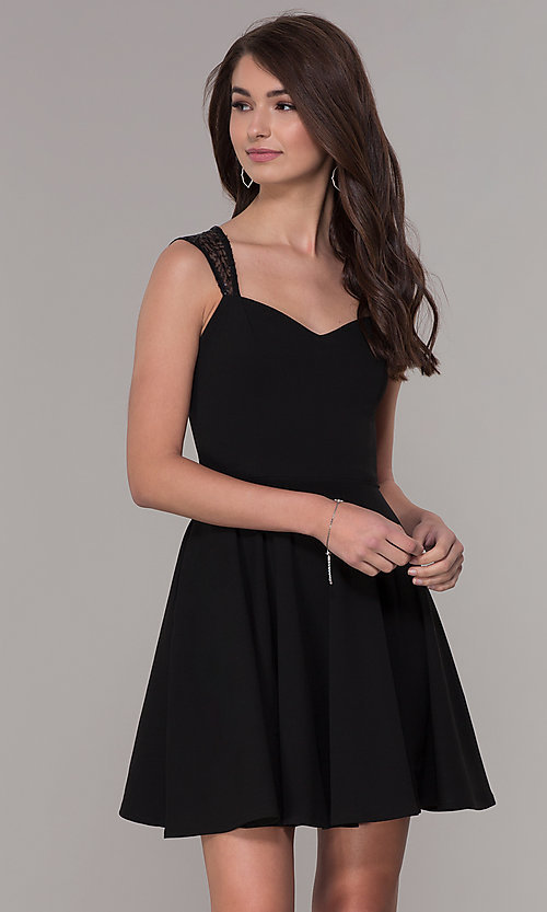 Image of black sleeveless homecoming dress with pockets. Style: PO-9012 Front Image