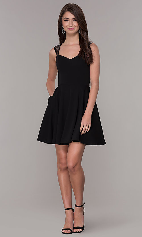 Image of black sleeveless homecoming dress with pockets. Style: PO-9012 Detail Image 2