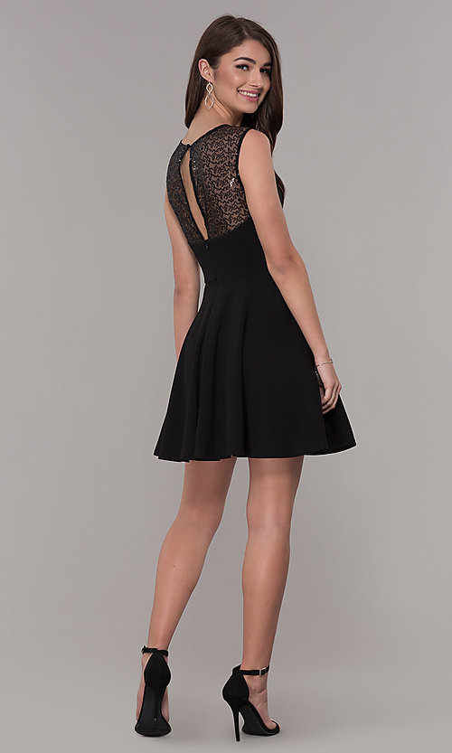 Image of black sleeveless homecoming dress with pockets. Style: PO-9012 Detail Image 3