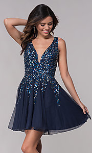 Image of sequined a-line short homecoming dress by Shail K. Style: SK-12182 Detail Image 2