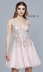 Image of sequined a-line short homecoming dress by Shail K. Style: SK-12182 Detail Image 4