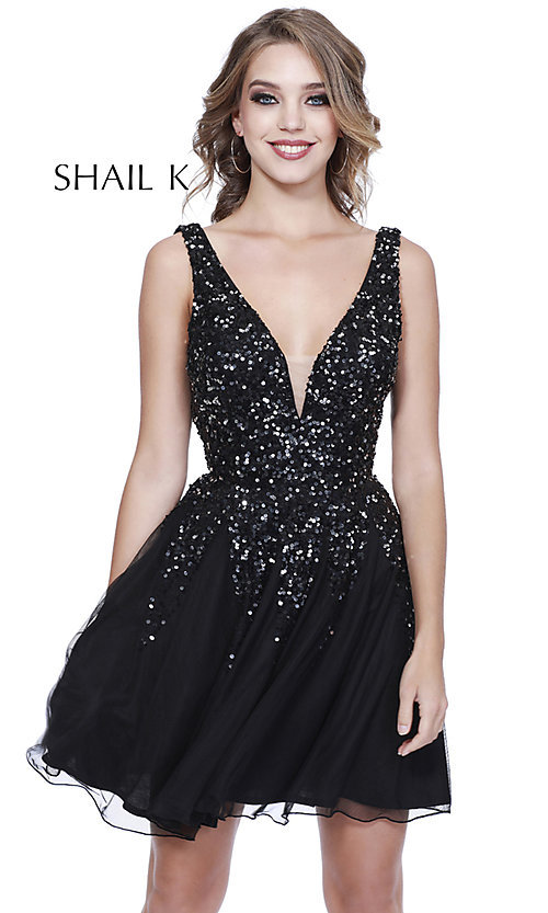 Image of sequined a-line short homecoming dress by Shail K. Style: SK-12182 Detail Image 3