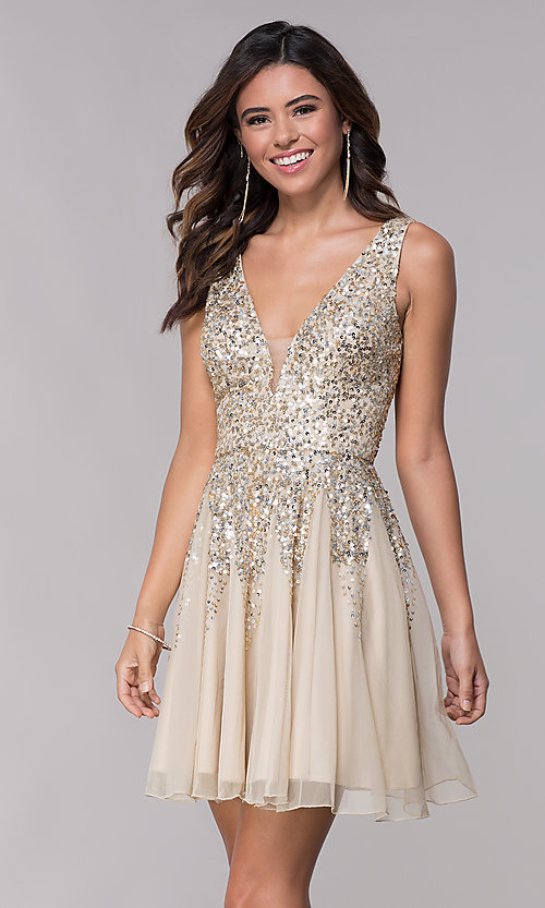 Image of sequined a-line short homecoming dress by Shail K. Style: SK-12182 Front Image