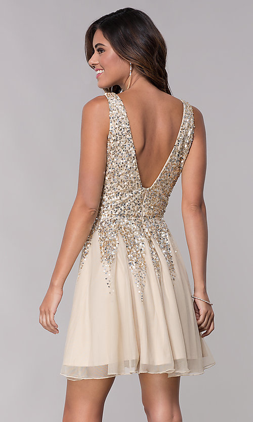 Image of sequined a-line short homecoming dress by Shail K. Style: SK-12182 Back Image