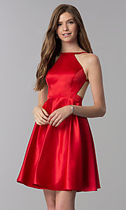 Image of open-back high-neck short red homecoming dress. Style: DJ-A6689 Front Image