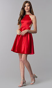 Image of open-back high-neck short red homecoming dress. Style: DJ-A6689 Detail Image 3