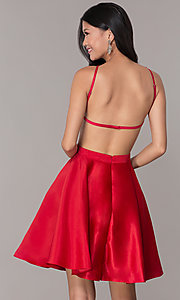 Image of open-back high-neck short red homecoming dress. Style: DJ-A6689 Back Image