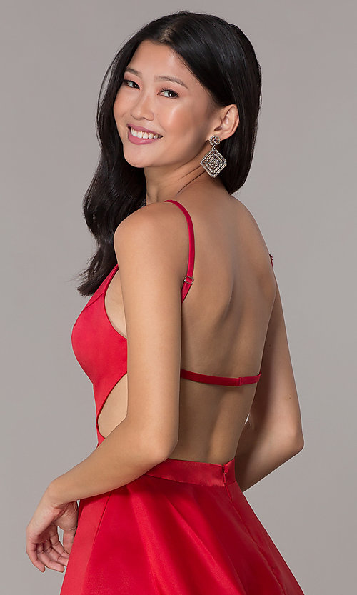 Image of open-back high-neck short red homecoming dress. Style: DJ-A6689 Detail Image 2