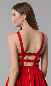 Image of caged-open-back short v-neck homecoming dress. Style: DJ-3980 Detail Image 2