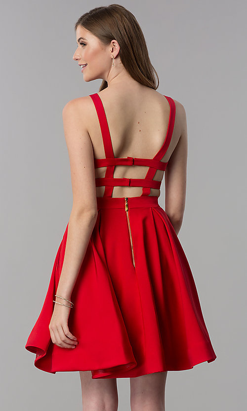 Image of caged-open-back short v-neck homecoming dress. Style: DJ-3980 Detail Image 1