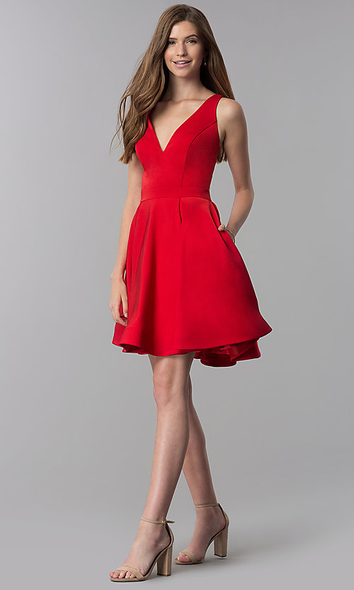 Image of caged-open-back short v-neck homecoming dress. Style: DJ-3980 Detail Image 3