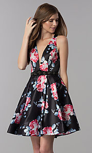 Image of satin floral-print short v-neck homecoming dress. Style: DJ-3804 Back Image