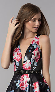 Image of satin floral-print short v-neck homecoming dress. Style: DJ-3804 Detail Image 1