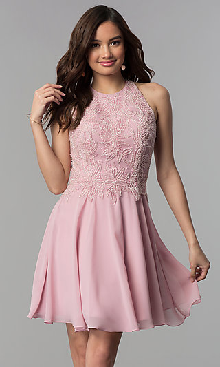 9a8f7bd8b764 Beaded-Bodice Short Mauve High-Neck Homecoming Dress