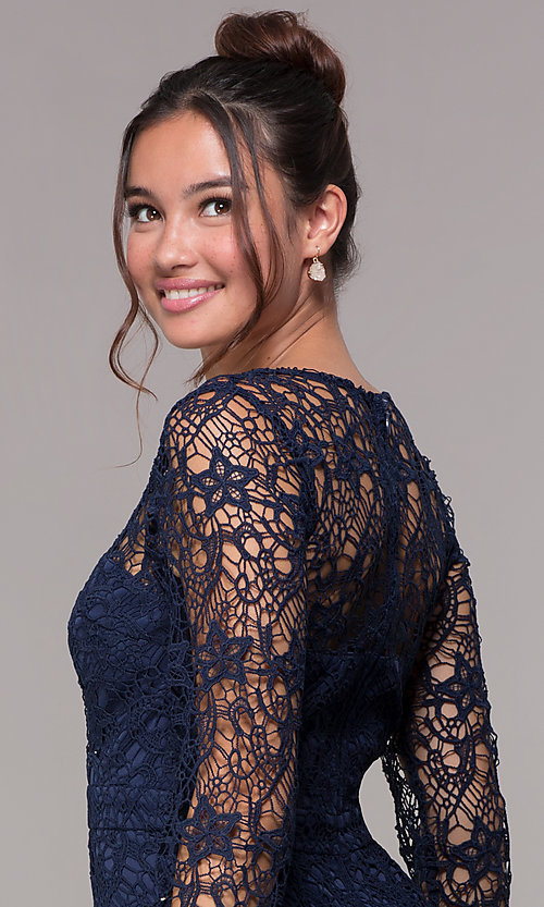 Image of long-sleeve short lace v-neck homecoming dress. Style: LP-23273 Detail Image 2