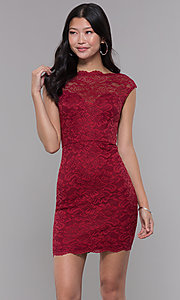 Image of short bateau-neck lace homecoming dress. Style: LP-27740 Front Image